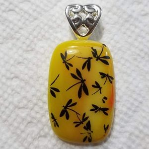 Yellow/orange dragonfly glass pendant